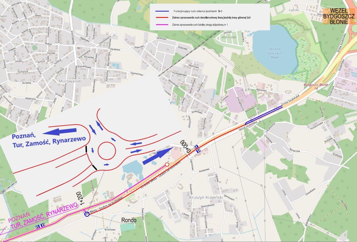 Od piątku (15 października) kierowcy inaczej pojadą na odcinku Bydgoszcz Błonie - Szubin Północ